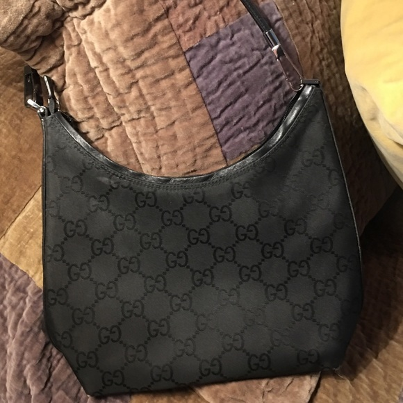 f597b4c7214 Gucci Handbags - Gucci black monogram canvas hobo shoulder bag